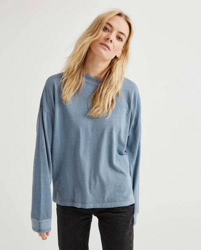 Long Sleeve Relaxed Tee - Blue Mirage