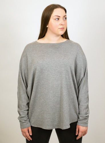 Bamboo French Terry Shirttail Sweatshirt - Heather Grey