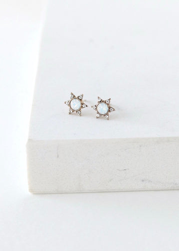 Starlit Stud Earrings - White Opal