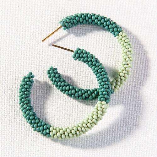 Teal With Mint Small Hoop Seed Bead Earrings