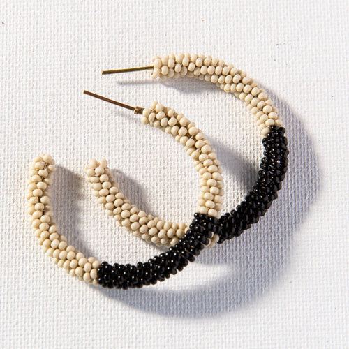 Ivory With Black Small Hoop Seed Bead Earrings