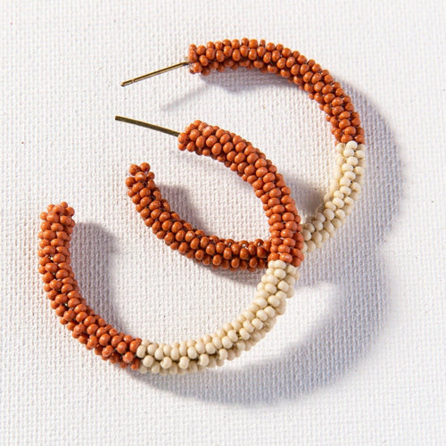 Rust With Ivory Small Hoop Seed Bead Earrings