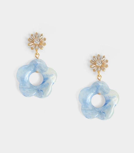 Bethany Floral Earrings - Blue