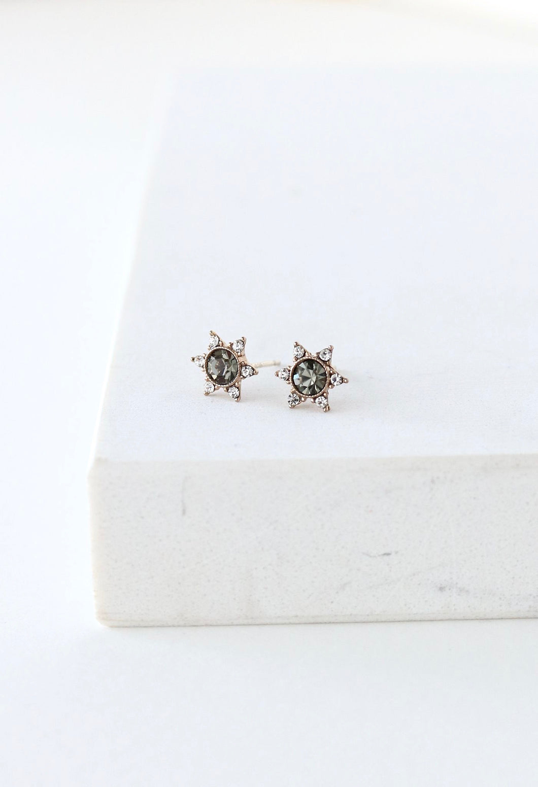 Starlit Stud Earrings - Black Diamond