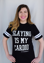 """Slaying is My Cardio"" - Striped Sleeve Tee"