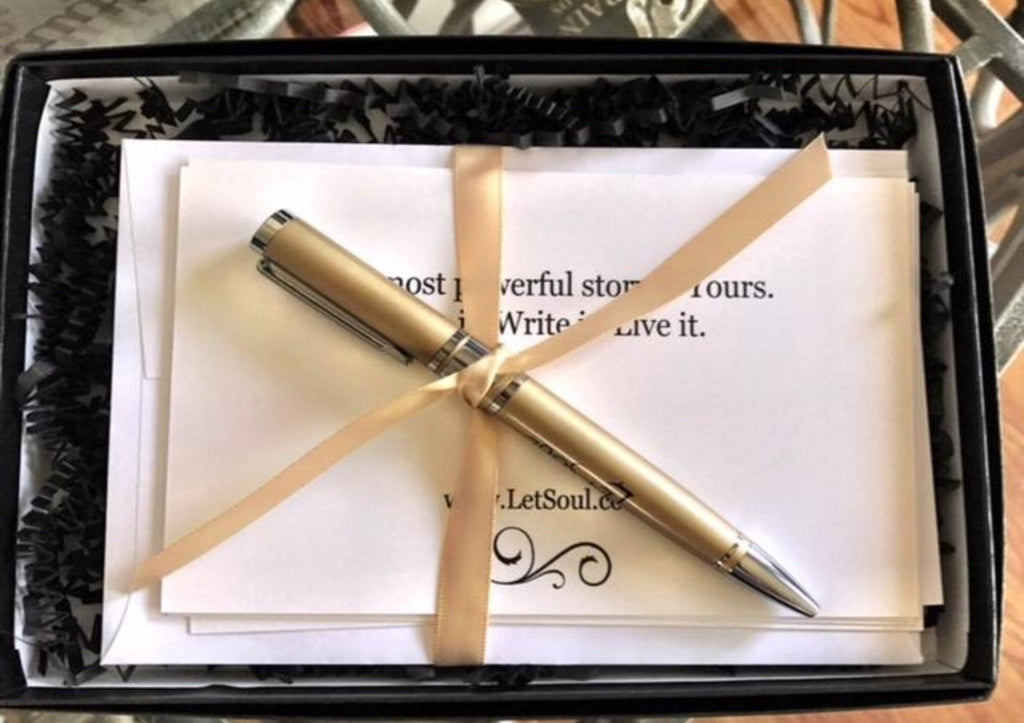 Gratitude Note Cards/Pen Set - Gold