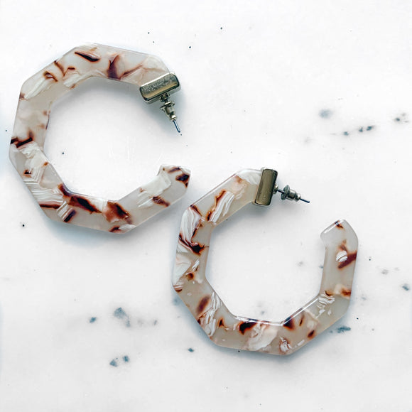 Brown Marble Hoop Earrings