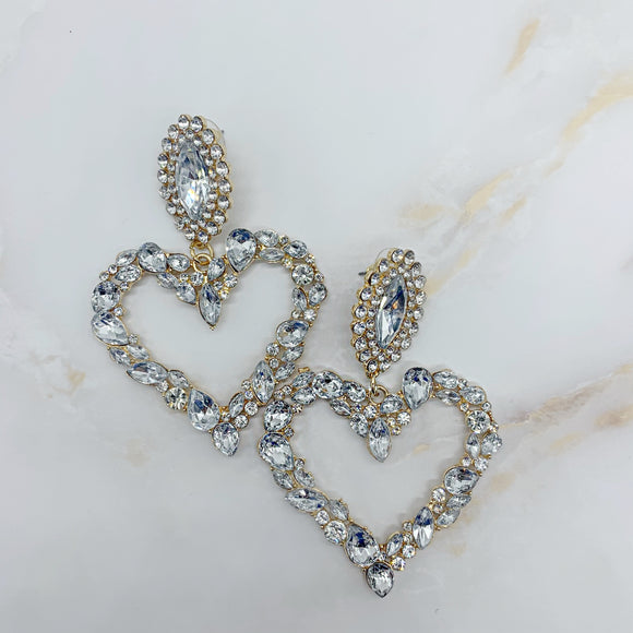 Daphne Clear Heart Earrings