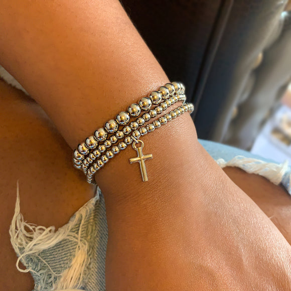 3 Strand Beaded Cross Bracelet Set