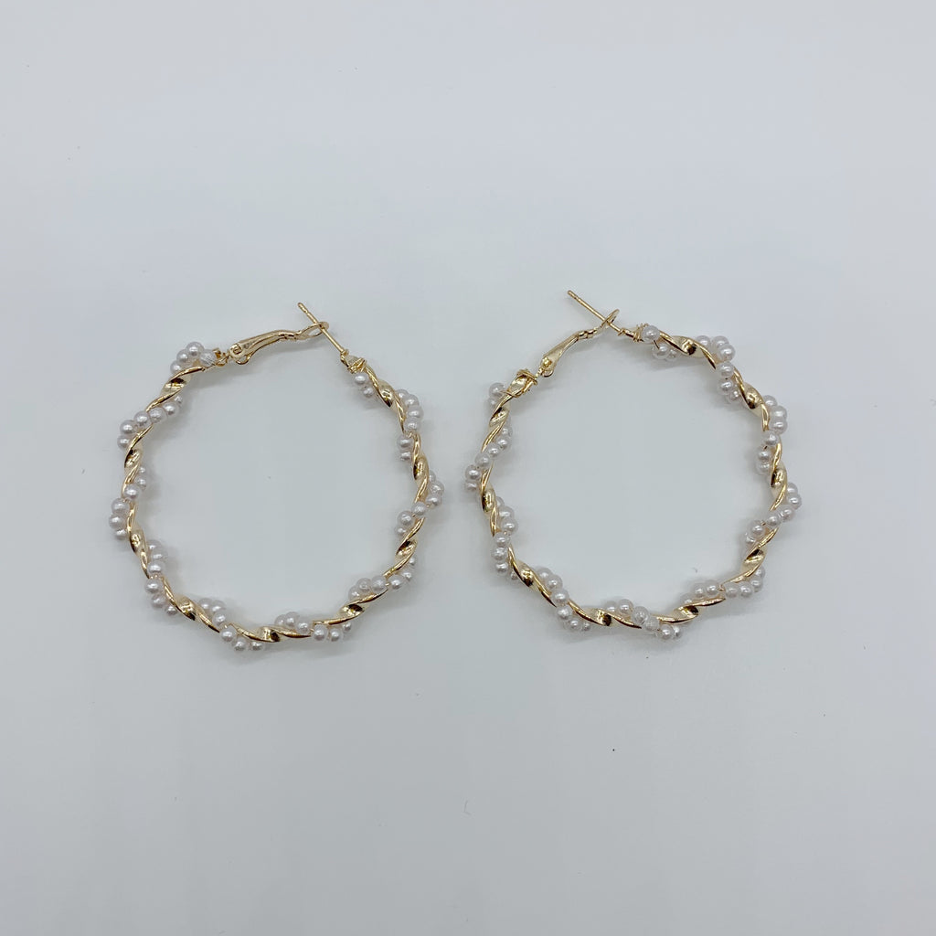 Twisted Pearl Hoops