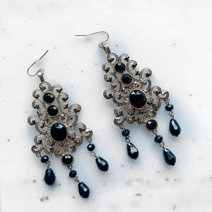 Vintage Black & Gold Chandelier Earrings