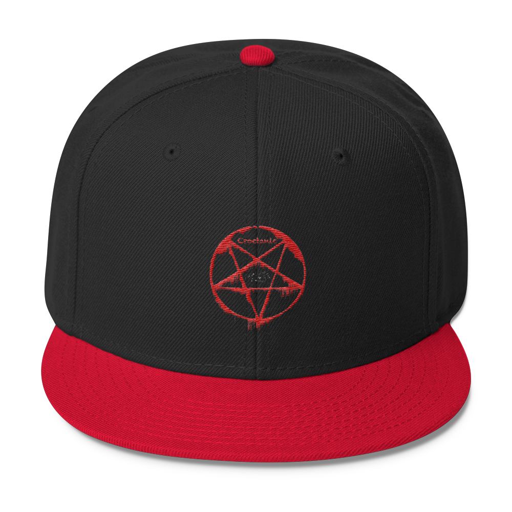 Croctanic Red & White Embroidered on Wool Blend Snapback