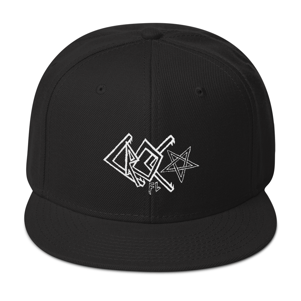 CrocFont White Embroidered Snapback