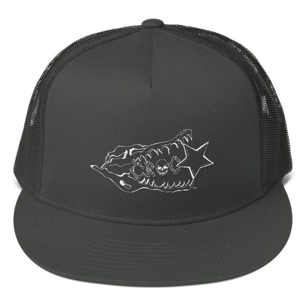 CrocSkull Logo Embroidered White on Mesh Back Snapback