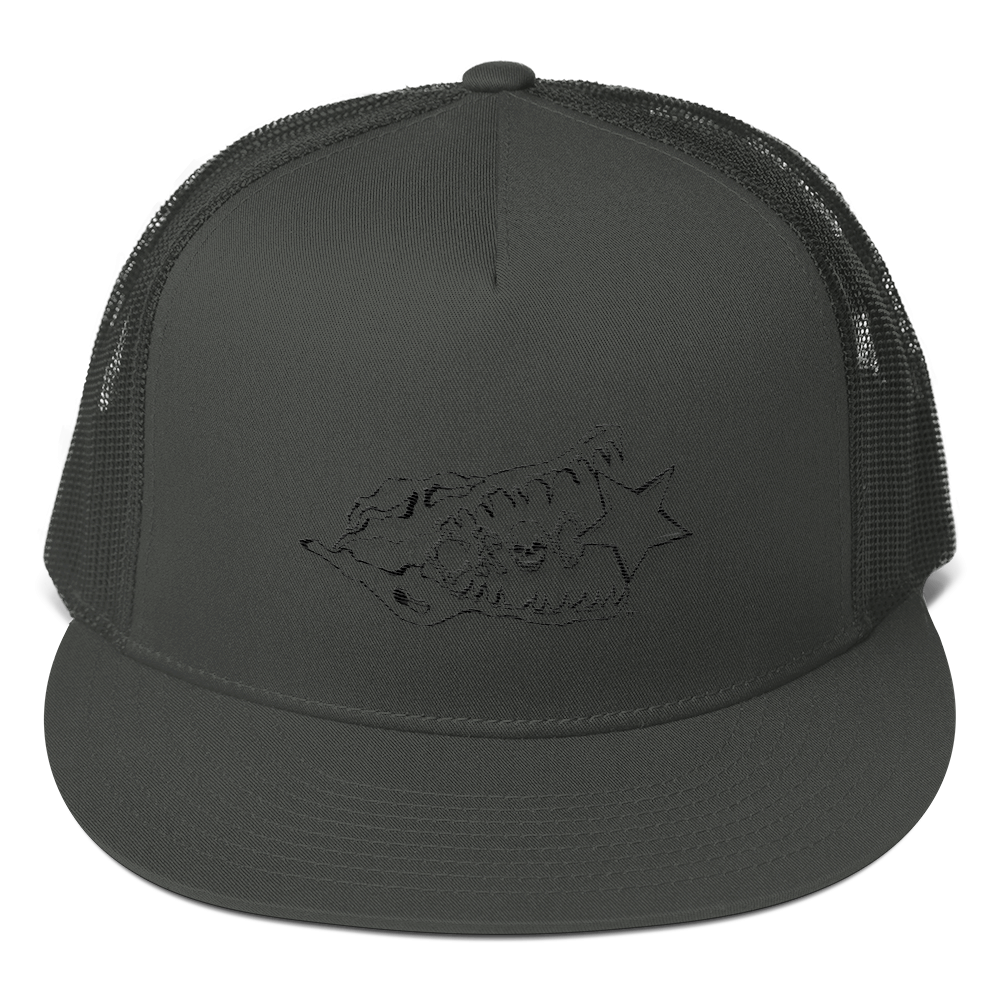 CrocSkull Logo Embroidered Black on Mesh Back Snapback