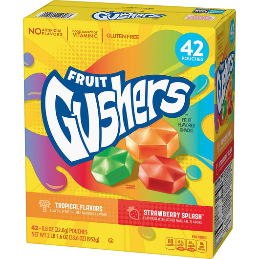 Fruit Gushers Variety Pack, Strawberry Splash and Tropical (42 ct.)
