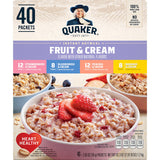 Quaker Instant Oatmeal Fruit & Cream, Variety Pack (40 pk.)