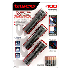 Tasco XR8 Focus Beam 400 Lumen Tactical LED Flashlight (3 Pack)