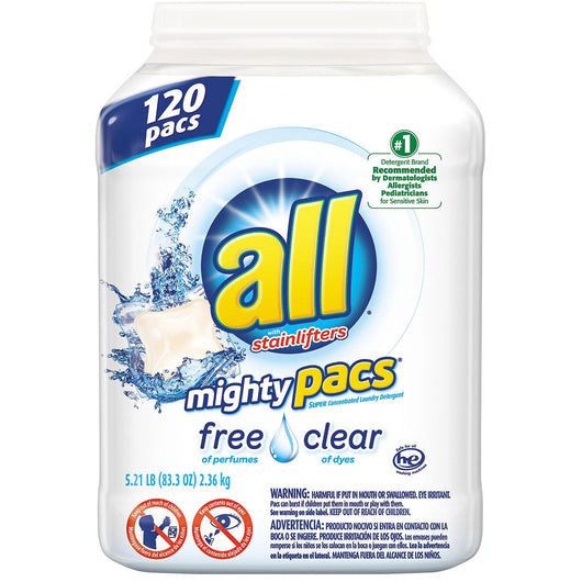 ALL Mighty Pacs Free & Clear Laundry Detergent (120 loads)
