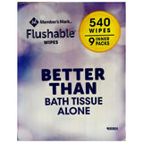 Flushable Wipes (9 pk, 540 wipes)