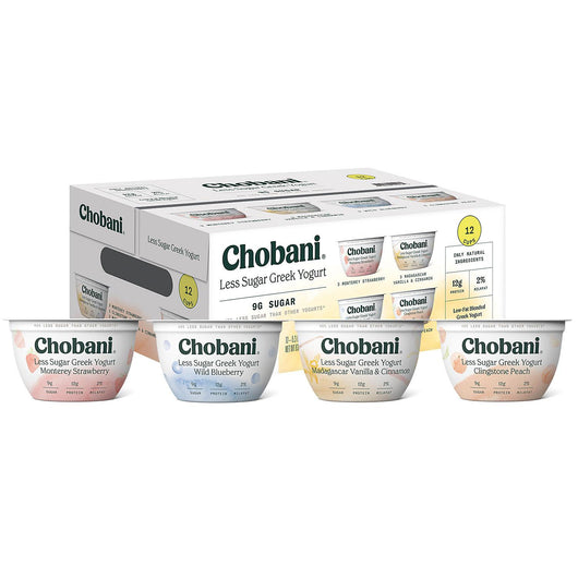 Chobani Less Sugar Greek Yogurt Single Serve Variety Pack (12 ct.)