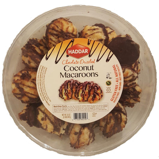Haddar Chocolate Drizzled Coconut Macaroons (2 lb)