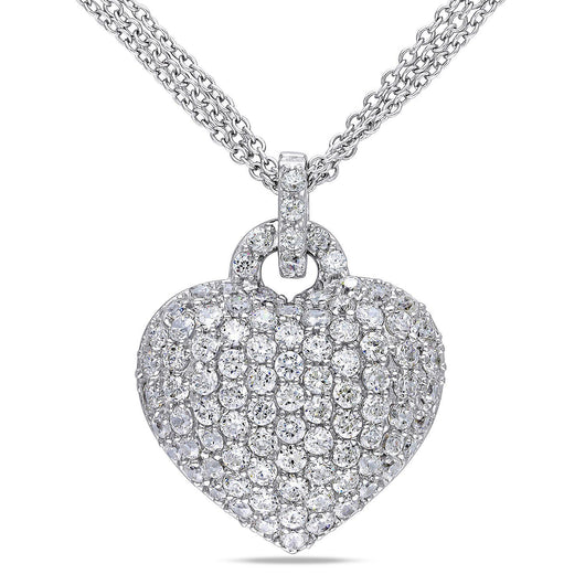 3.47 CT. Created White Sapphire Heart Pendant in Sterling Silver 7-14 Day Delivery