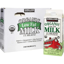 Kirkland Signature Organic Milk, 1% Low Fat, 64 oz, 3 ct