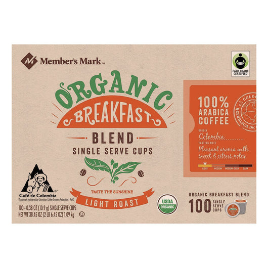 Organic Breakfast Blend Coffee (100 single-serve cups)