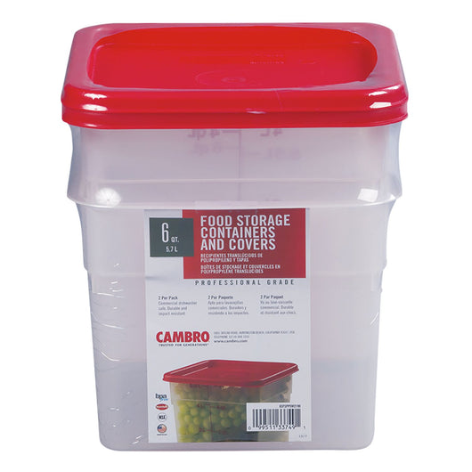 Cambro Square Translucent Container with Lid (6 qt., 2 pk.)