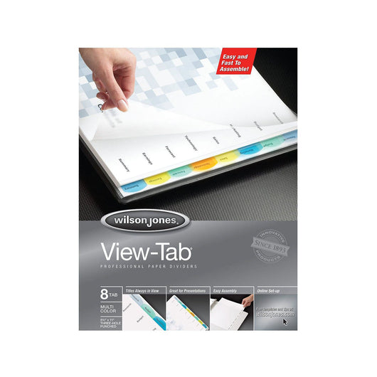 Wilson Jones® View-Tab Transparent Dividers, 8-Tab Set, Multicolor Square Tabs, 6 Pack