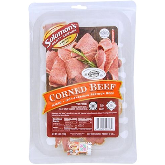 Solomon's Glatt Kosher Sliced Corned Beef 24 oz. (1.5 lbs)