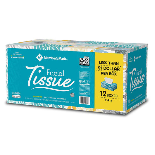 2-Ply Unscented Facial Tissue (12 ct.,160 tissues per box)
