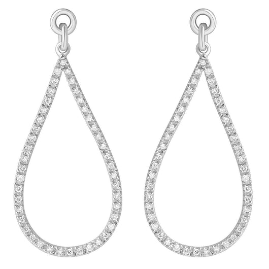 Sterling Silver Earings with Diamond Pear Shape
