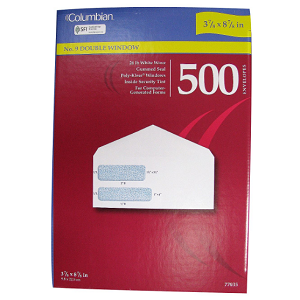 Columbian Poly-Klear White Double Window Envelopes, No. 9, 500 Count