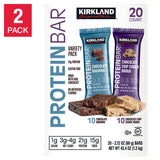 Kirkland Signature Protein Bars Cookie Dough and Chocolate Brownie 20 pack, 2-count