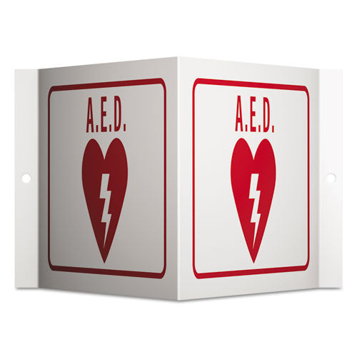 Quartet Projecting 3-Way Sign, AED, 6 x 9, Red/White AED