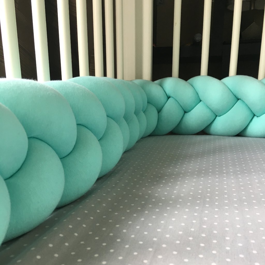 Mint| Braided Crib Bumper / Bed Bolster - See more Braided Crib Bumpers & Cushions at JujuAndJake.com
