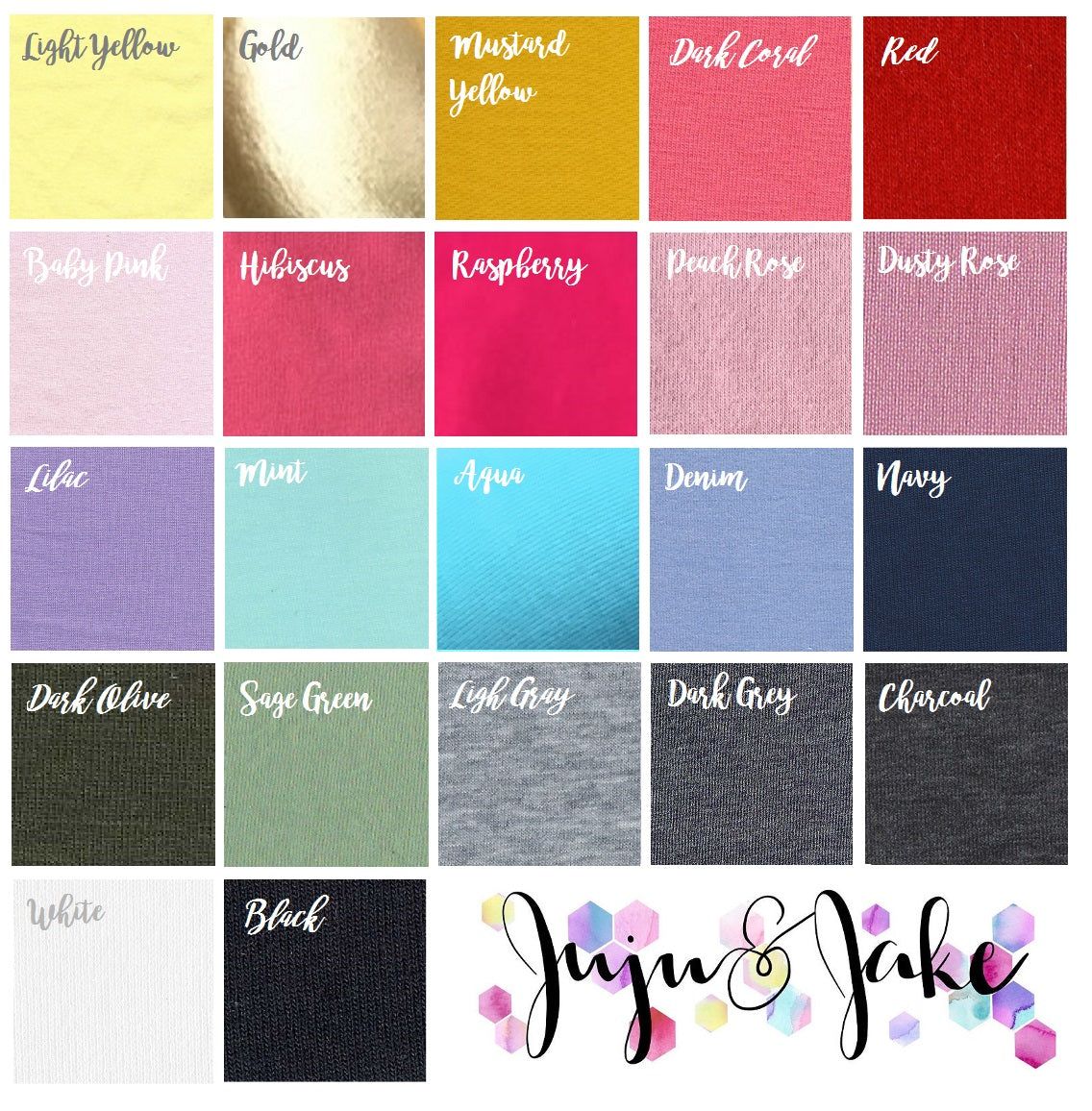 Color Chart | Kids Floor Knot Cushion / Floor Pillow - See more Knot Pillows & Cushions at JujuAndJake.com