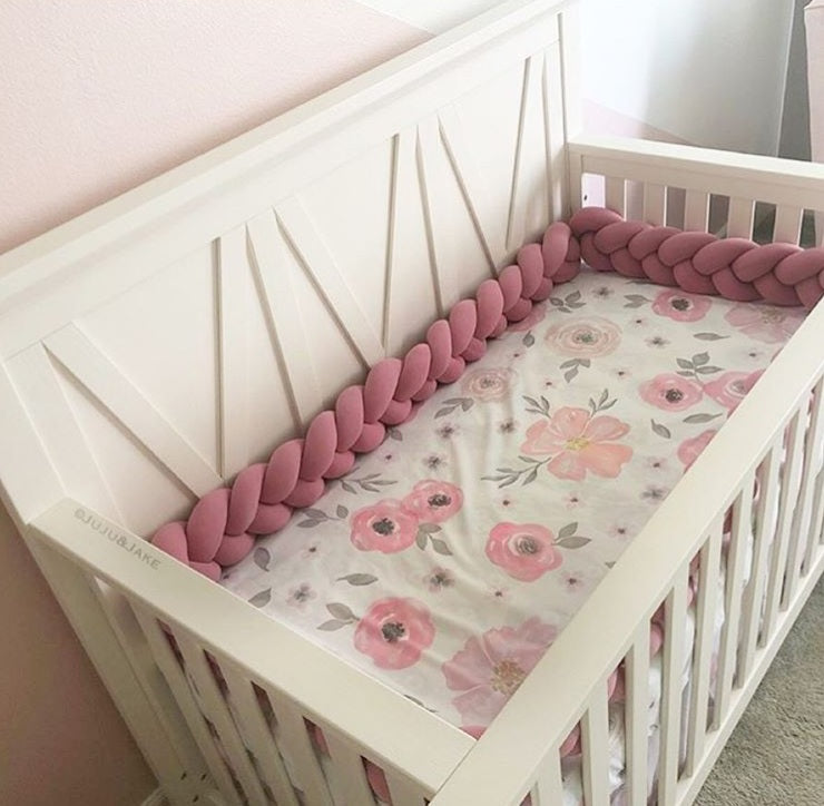 Dusty Rose | Braided Crib Bumper / Bed Bolster - See more Braided Crib Bumpers & Cushions at JujuAndJake.com