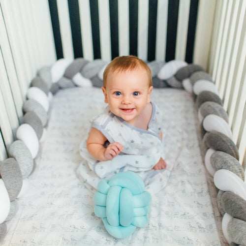 White, Light Grey, Dark Gray | Braided Crib Bumper / Bed Bolster - See more Braided Crib Bumpers & Cushions at JujuAndJake.com