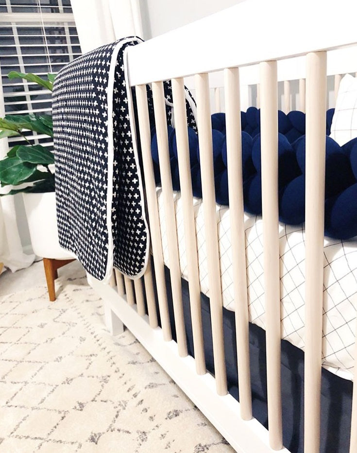Navy | Braided Crib Bumper / Bed Bolster - Partial Length - See more Knot Pillows & Cushions at JujuAndJake.com
