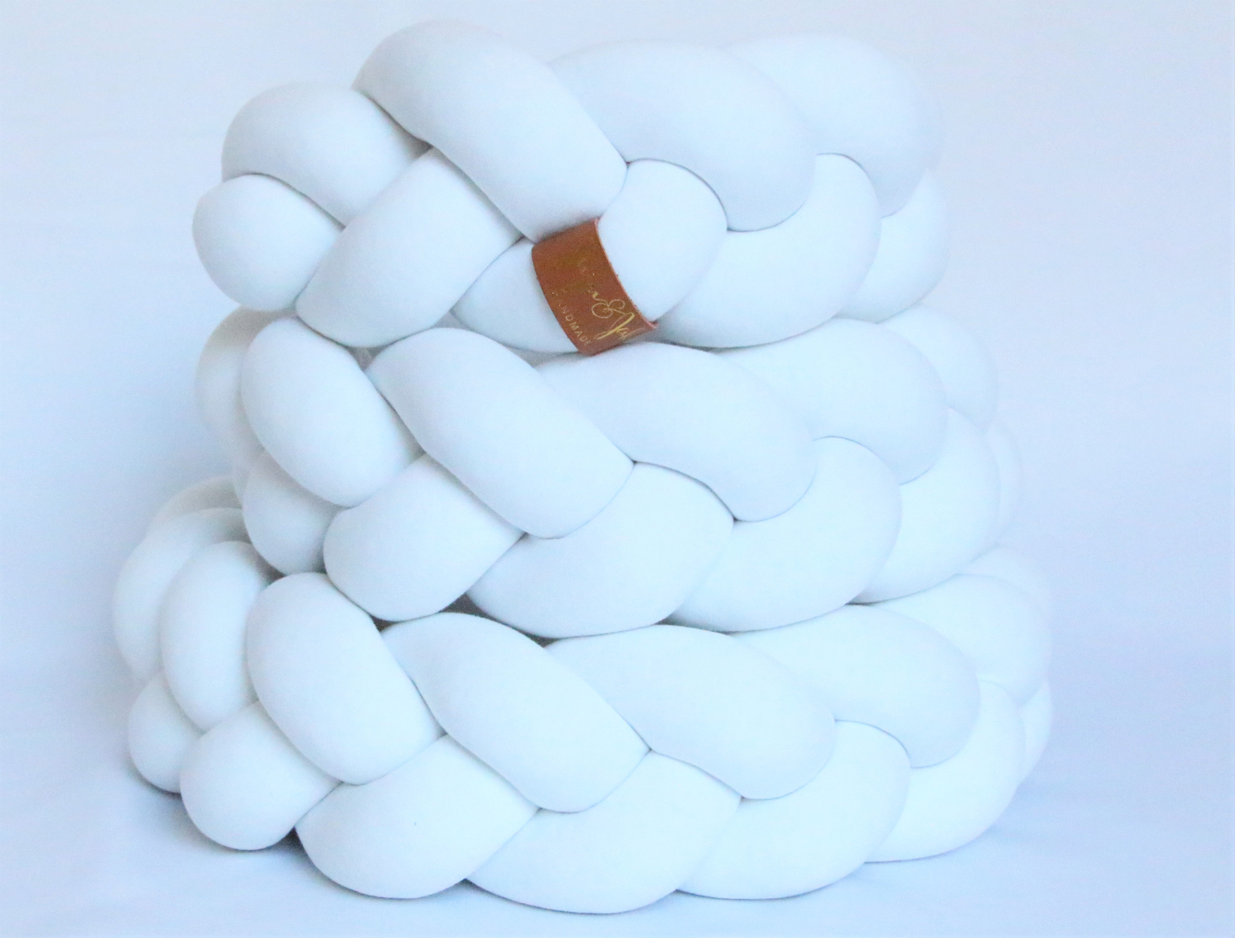 White | Braided Crib Bumper / Bed Bolster - See more Braided Crib Bumpers & Cushions at JujuAndJake.com