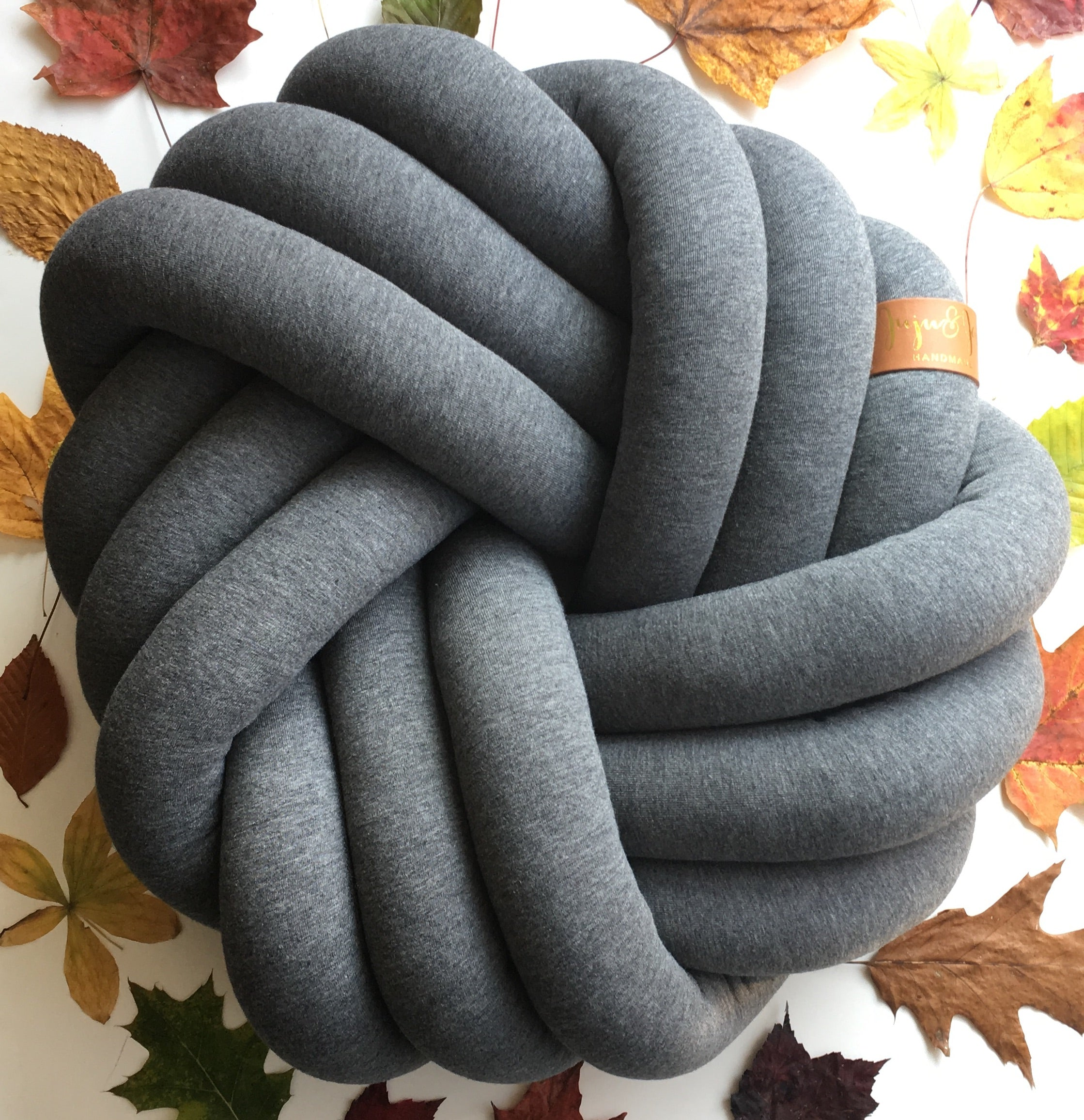 Dark Grey | Kids Floor Knot Cushion / Floor Pillow - See more Kids Knot Pillows & Cushions at JujuAndJake.com