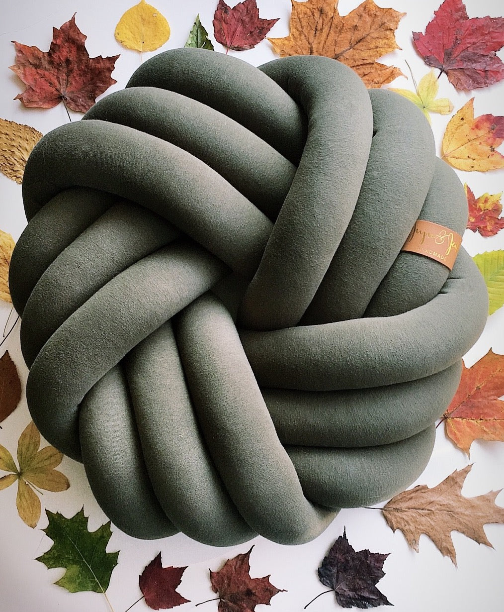 Dark Olive | Kids Floor Knot Cushion / Floor Pillow - See more Kids Knot Pillows & Cushions at JujuAndJake.com