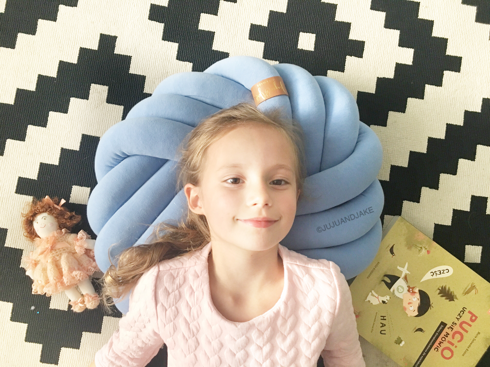 Denim | Blue Kids Floor Knot Cushion / Floor Pillow - See more Knot Pillows & Cushions at JujuAndJake.com