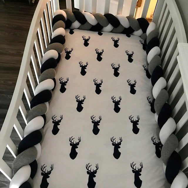 White, Dark Grey, Black | Braided Crib Bumpers & Cushions at JujuAndJake.com