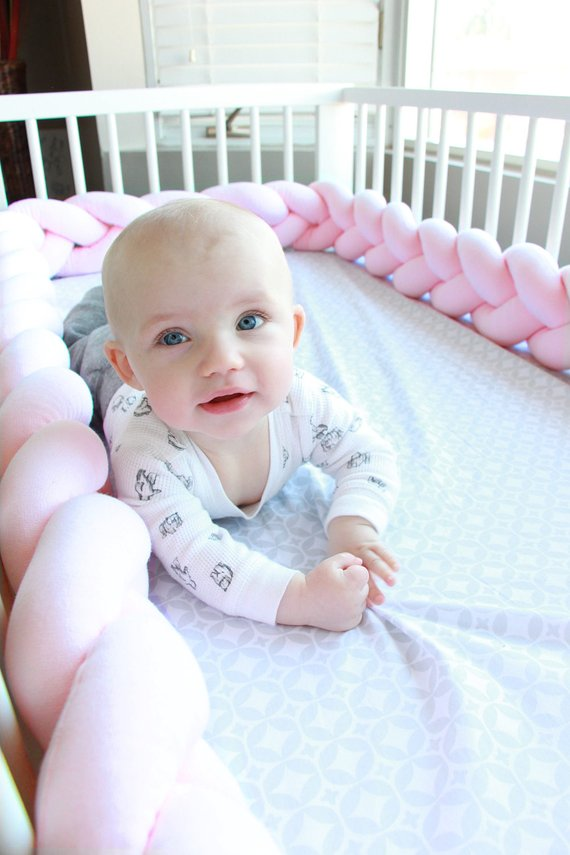 Baby Pink | Braided Crib Bumper / Bed Bolster - See more Braided Crib Bumpers & Cushions at JujuAndJake.com