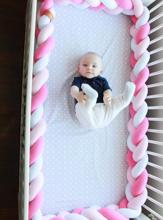 White, Baby Pink, Hibiscus | Braided Crib Bumper / Bed Bolster - See more Braided Crib Bumpers & Cushions at JujuAndJake.com