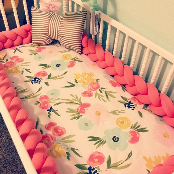 Dark Coral | Braided Crib Bumper / Bed Bolster - See more Braided Crib Bumpers & Cushions at JujuAndJake.com
